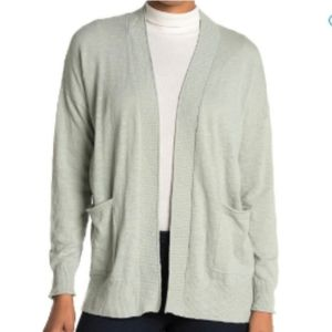 Madewell Sage Open Front Patch Pocket Cardigan